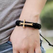 New Fashion Men Jewelry Vintage Leather Bracelets & Bangles Metal Cross Jesus Bracelet Adjustable Wax Cord Brown Black(China)