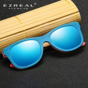 Image 2 - EZREAL סקייטבורד עץ משקפי שמש מסגרת כחולה עם עדשות 400 הגנה UV משקפי שמש במבוק שיקוף ציפוי בקופסא עץ