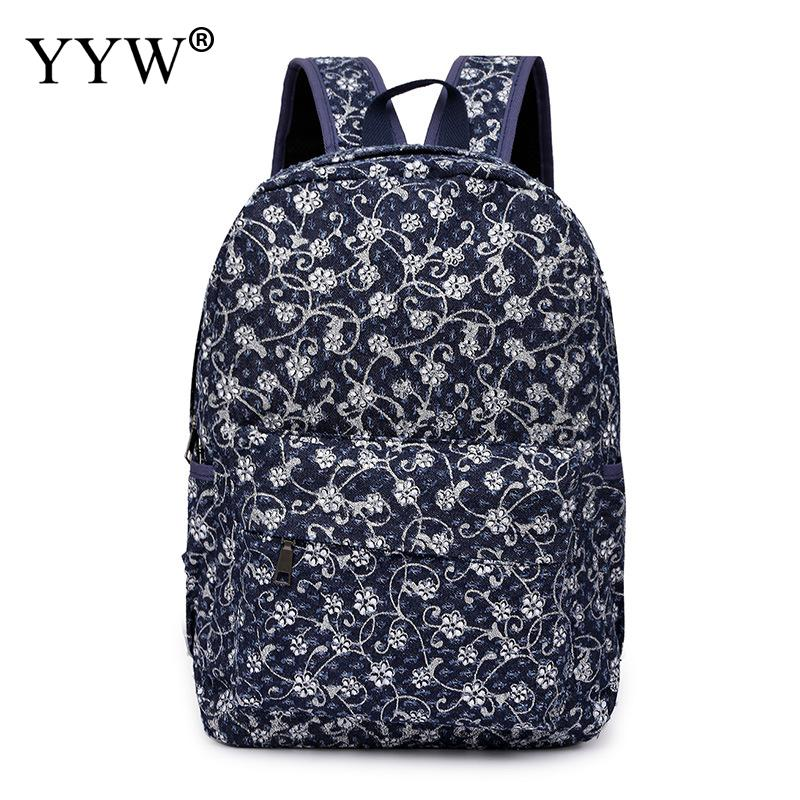 YYW Travel Backpack Bookbags Floral-Print Canvas Large-Capacity Breathable Casual Newest-Design