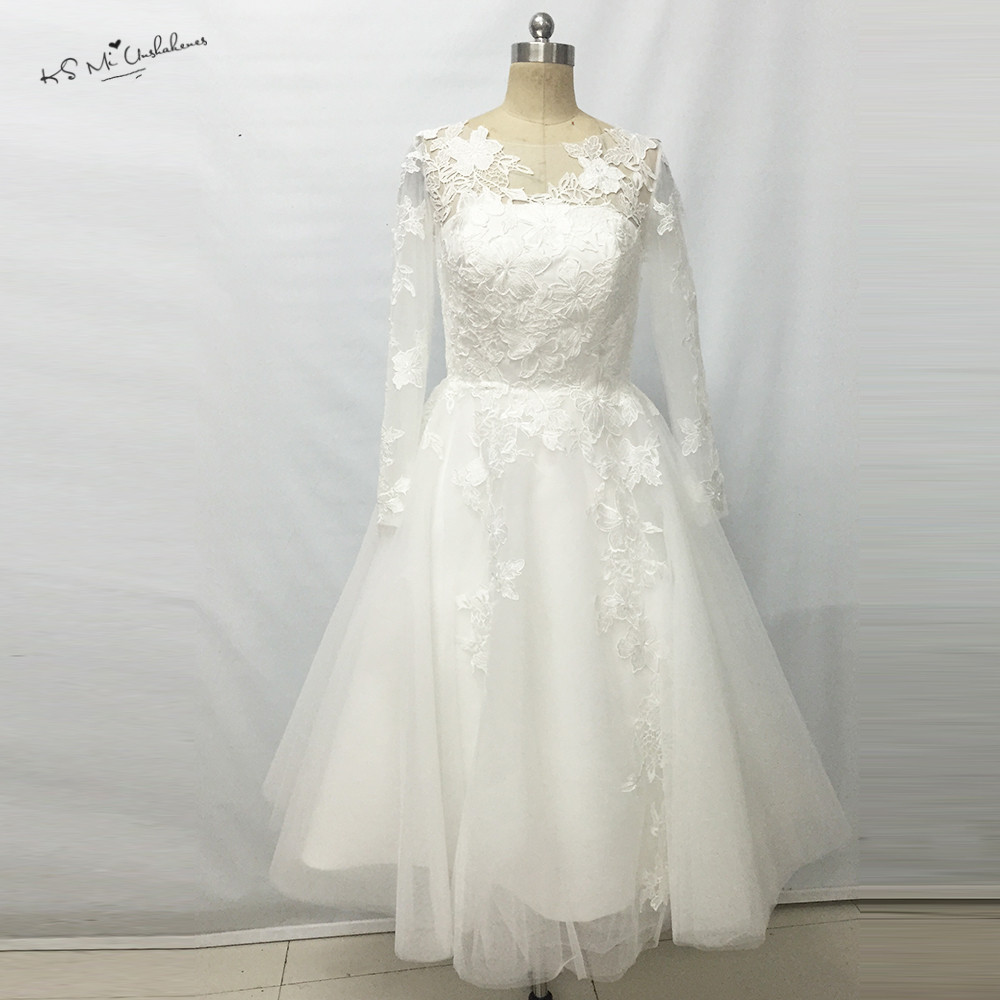2017 Retro Christmas Lace Tea Length Wedding Dresses Long Sleeve Vintage Short Wedding Bridal Gown Casamento Vestido Noiva Curto