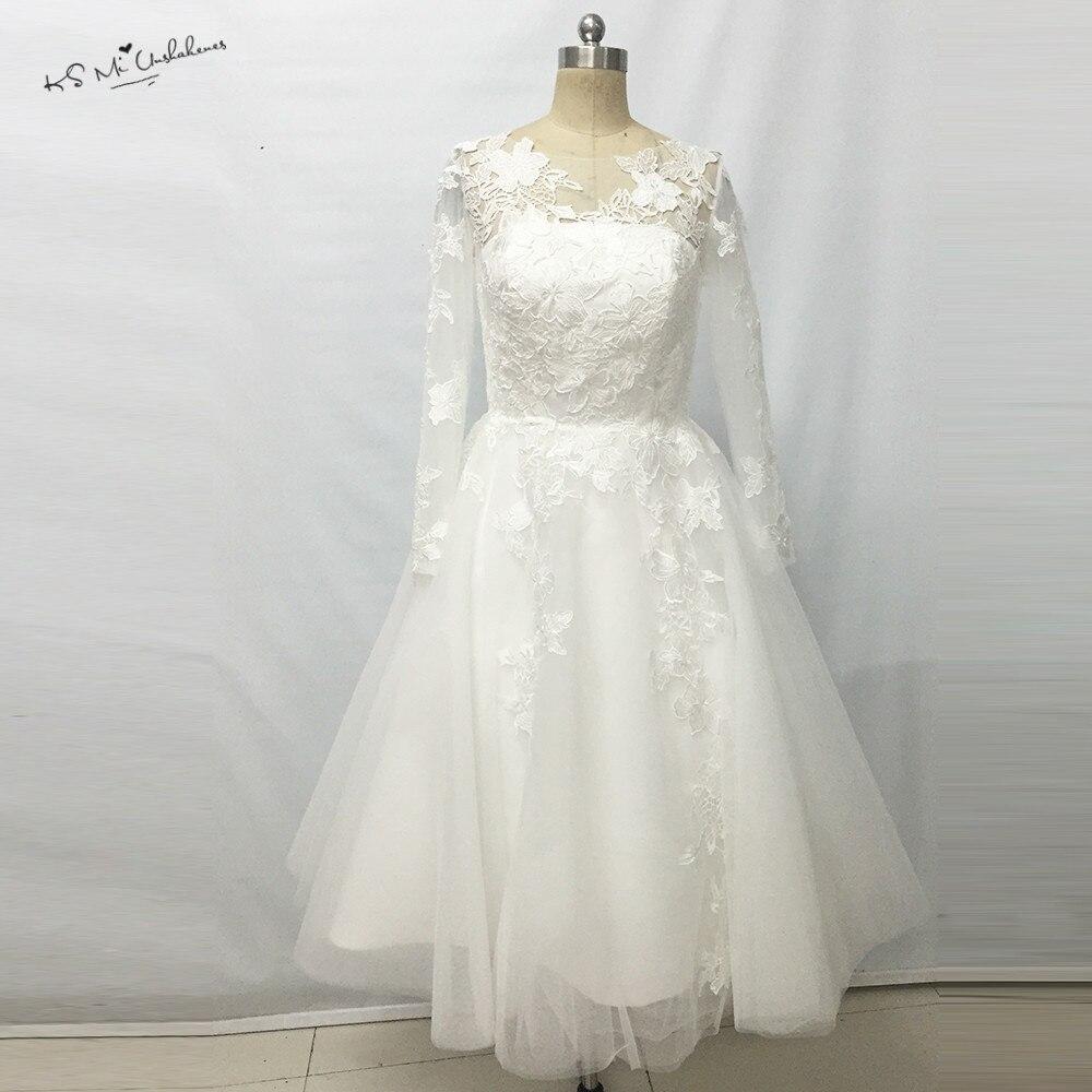Christmas wedding dress korean - 2017 Retro Christmas Lace Tea Length Wedding Dresses Long Sleeve Vintage Short Wedding Bridal Gown Casamento