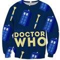 Novo Estilo de Design Camisola DOCTOR WHO TARDIS e chave de fenda sônica Pullove Engraçado Impressão 3D Hoodies Jumper Outfits Mulheres/Homens