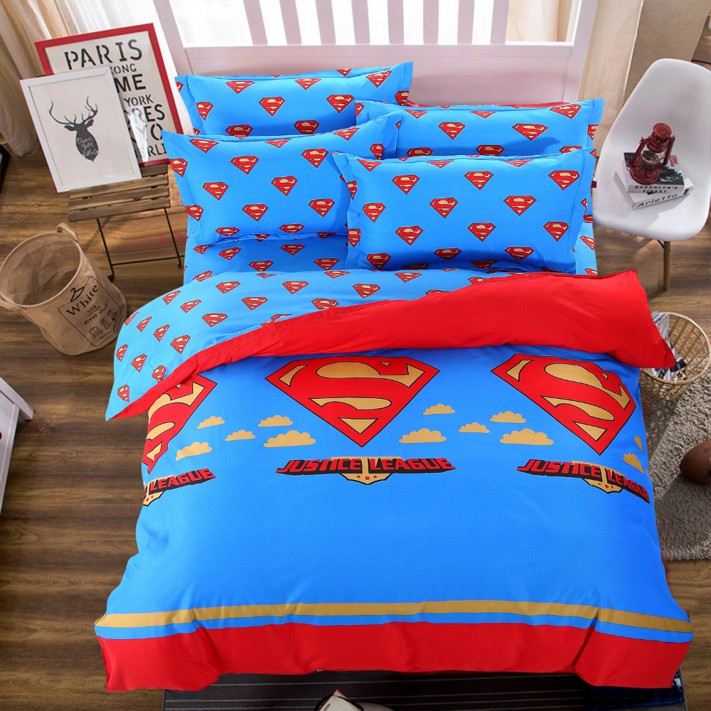 popular superman bedding buy cheap superman bedding lots from blue superman printed bedding sets cartoon bedspread single twin full queen size bedclothes children s boy s bed