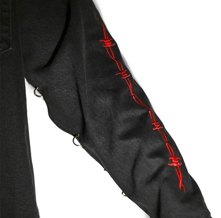 Image 5 - Harajuku Gothic Demon Hunter Skull black denim jacket men Rock  punk heavy metal Sweatshirt sudadera suspenders hole streetwearJackets