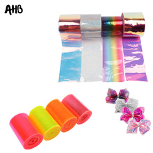 AHB 75MM Jelly Ribbon Laser Transparent PVC Leather for Decor DIY Hair Bow Materials 2yards/bag
