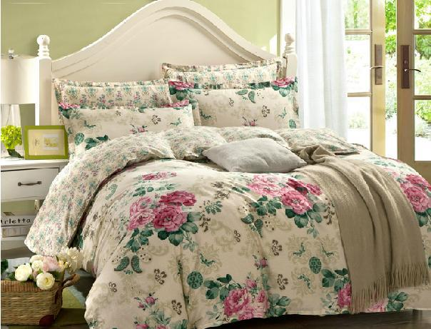 Fushica And Osyter Flowers Duvet Cover Flat Sheet Pillowcase 3pc/4pc Bedding Set 100% Cotton Twin Full Queen King Four Size