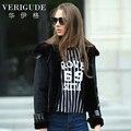 Veri Gude Winter Faux Fur and Faux Leather Jacket  Slim Fit Short Style Winter Jacket Women