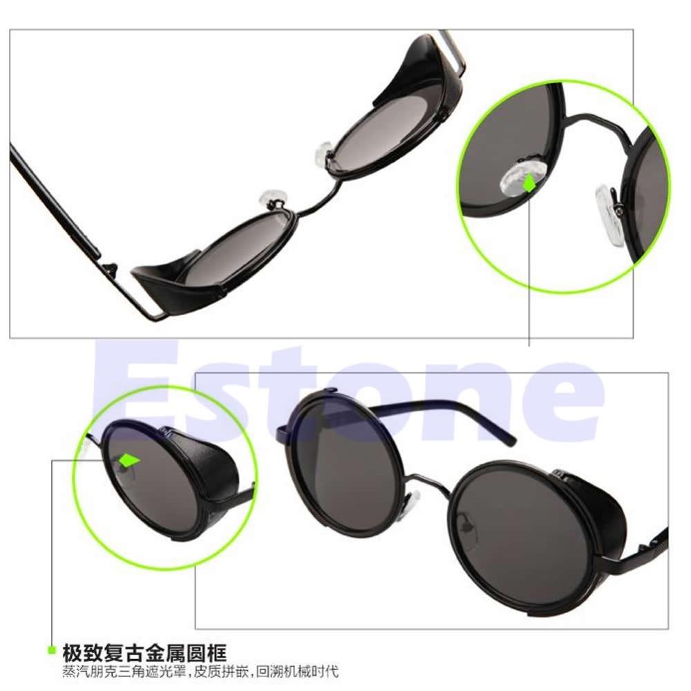 Ultralight Frame Unisex Gothic Steampunk Blinder Cyber Round Goggles Sunglasses