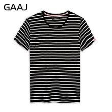 3fec7e10afb 2018 GAAJ брендовая мужская футболка в полоску вязанная темно-синий черный  белый Высокое качество 100