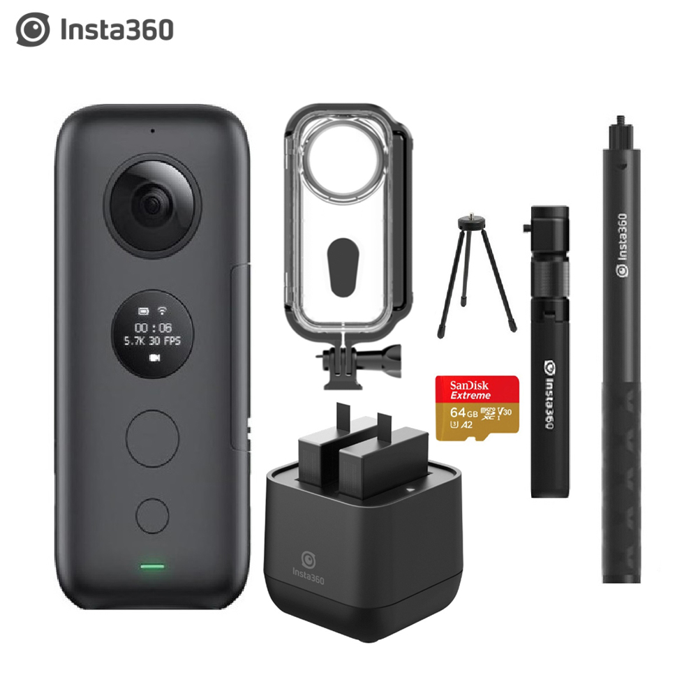 Insta360 ONE X Sports Action Camera With Venture Case &Battery Charger 5.7K Video VR Insta 360 Panoramic Camera 18MP Photo(China)
