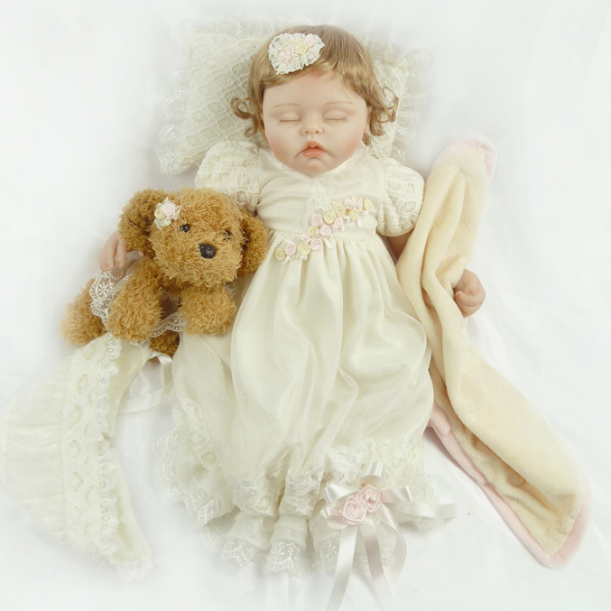 55cm Soft Body Silicone Reborn Baby Dolls Toy For Girls Exquisite Sleeping Newborn Babies Bedtime Toy High Quality Birthday Gift