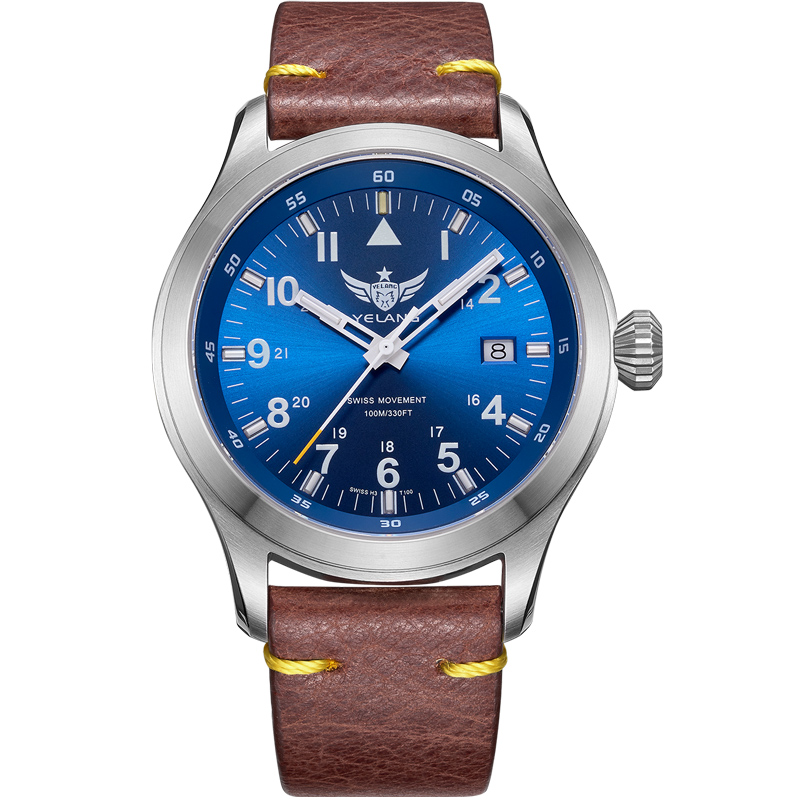 YELANG V1021 aviateur Serier T100 Tritium Tubes + chiffres fluorescents 100 m bracelet en cuir étanche montre-bracelet à Quartz pour hommes