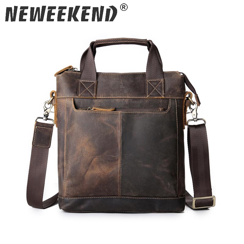 Men s Handbag Vintage Genuine Leather Crazy Horse Handbags Briefcase Shoulder Crossbody Messenger iPad Bag for