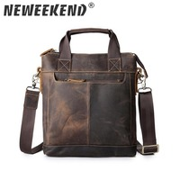 Briefcase Men Handbag Vintage Genuine Leather Crazy Horse Handbags Briefcase Shoulder Crossbody Messenger iPad Bag for Man 5803