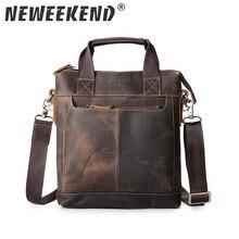 Mens Handbag Vintage Genuine Leather Crazy Horse Handbags Briefcase Shoulder Crossbody Messenger iPad Bag for Man 5803
