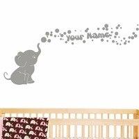 POOMOO Etiquetas de La Pared Del Elefante con Burbujas y Nombre Personalizado Del Bebé Room Decor Nursery Viny Tatuajes de Pared 60 cm X 127 cm