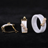 Blucome CZ Zircon Luxury Jewelry Sets Earrings Rings White Black Ceramic Copper Aretes Porcelain Aros Anillos