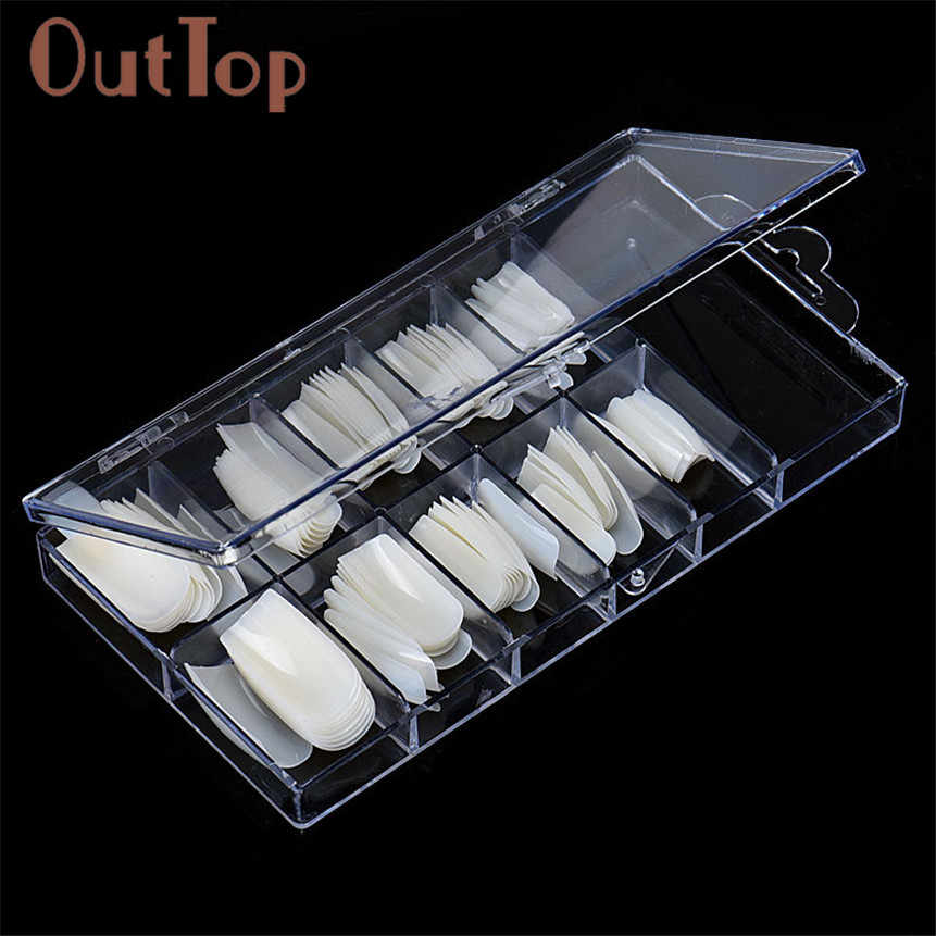 OutTop ColorBeauty 100pcs Natural Color French False Nail Tips Artificial Fake Nails Art Acrylic Manicure Tools 160920