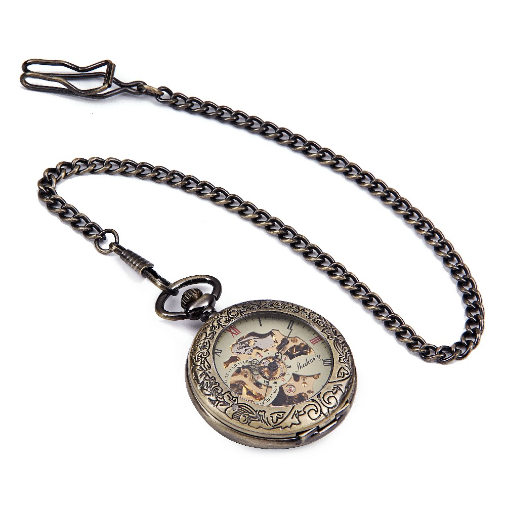 20PCS A LOT Bronze Tone Men's Skeleton Hollow Case Engraved Hand Wind Up Mechanical Pocket Watch Chain New Nice Gift HALF HUNTER