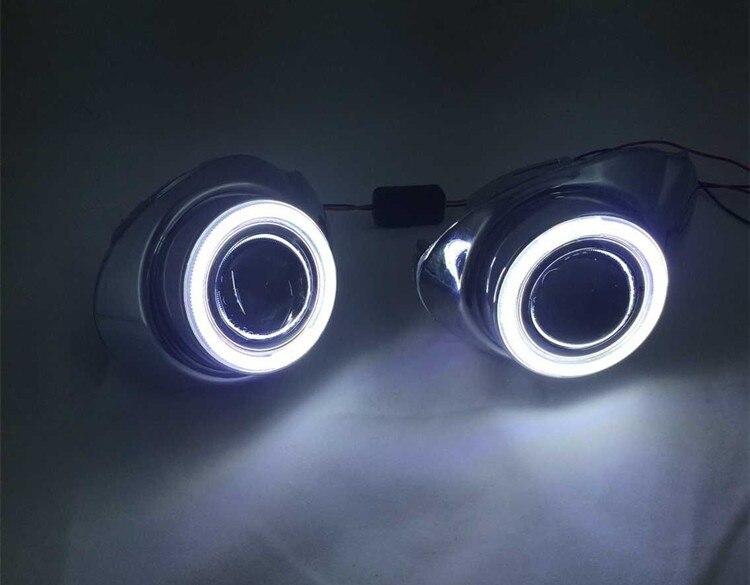 DRL COB angel eye (5 colors) + halogen fog lamp + projector lens + fog lamp cover for ford focus 2012, 2pcs ownsun superb 55w halogen bulbs cob fog lights source angel eye bumper cover for mazda cx 5 2013 2015