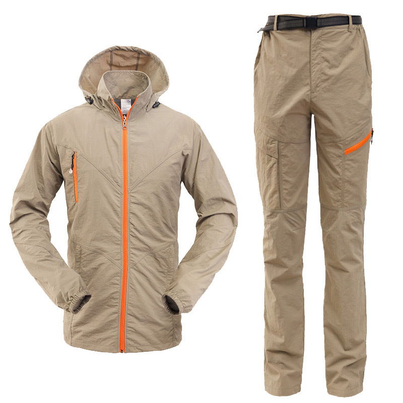 Hiking set clothing male Quick Dry Breathable Sport Suit Camping&Hiking Shirt pants Men Long Sleeve Hunting Tactical Clothing outdoor sport pants stitching breathable quick drying pants cycling hiking camping fishing running jogging luminous sports pants