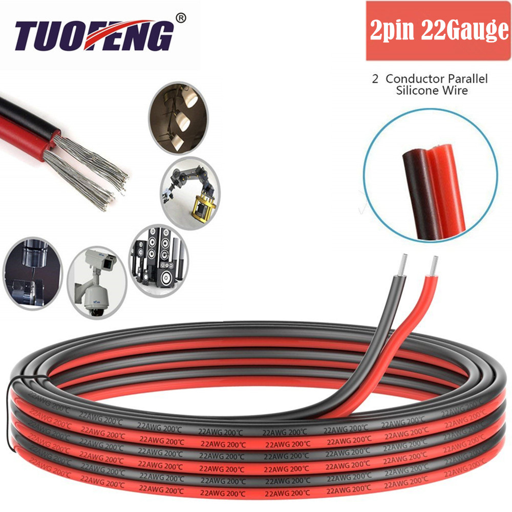 все цены на 2pin Extension Cable Wire Cord 22awg Silicone Electrical Wire Cables 2 Conductor Parallel Wire line Soft Strands Tinned copper