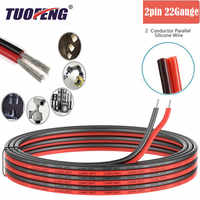 2pin Extension Cable Wire Cord 22awg Silicone Electrical Wire Cables 2 Conductor Parallel Wire line Soft Strands Tinned copper