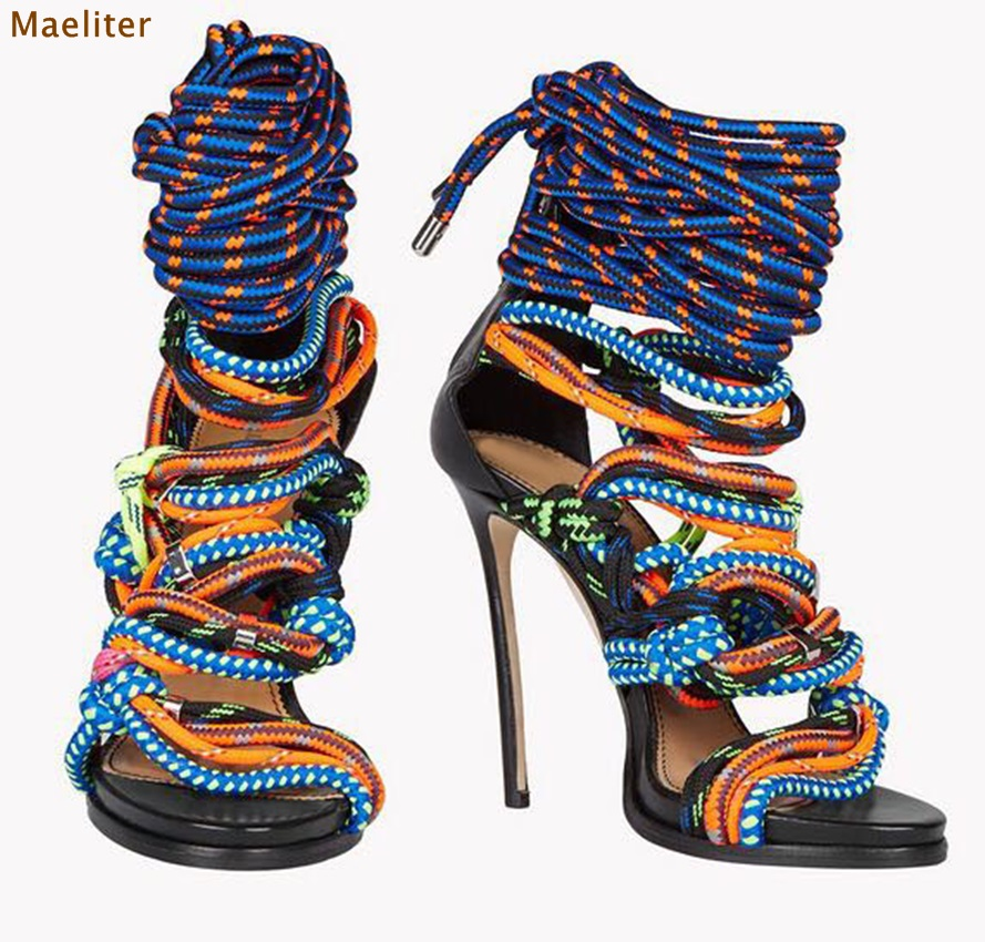 European Style Unique Design Multi-color Rope Sandals Sky High Heel Dress Shoes Colorful Rope Knot Tie-up Nightclub Party ShoesEuropean Style Unique Design Multi-color Rope Sandals Sky High Heel Dress Shoes Colorful Rope Knot Tie-up Nightclub Party Shoes
