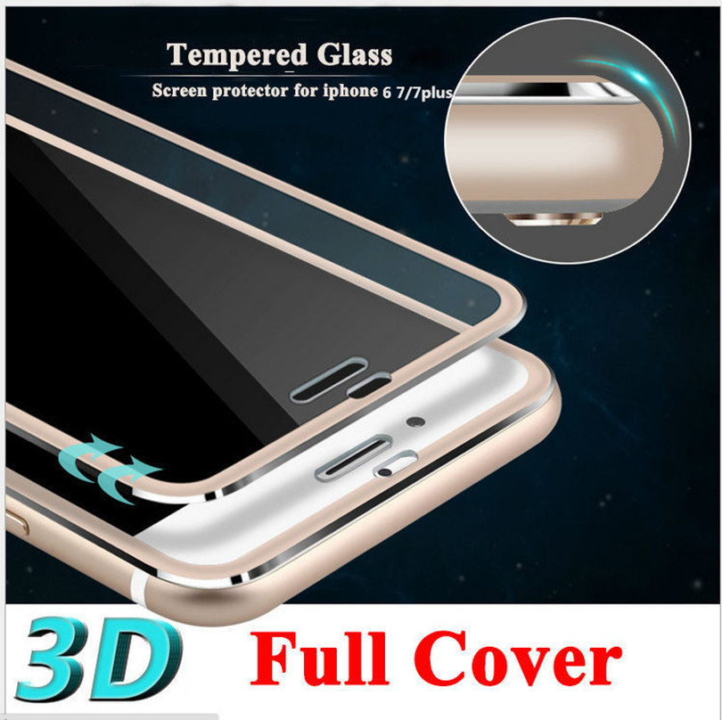 3D Curved Edge Clear Tempered Glass Full Coverage For iPhone 7 Plus 7 Titanium Protective Film Screen Protector For iPhone 6 6s