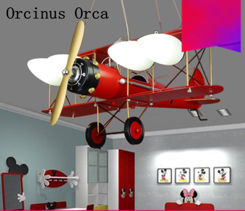 Retro Creative Aircraft Chandelier Boys And Girls Bedroom Children's Room Light Cartoon LED Red Aircraft Chandelier