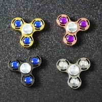 Tri Fidget Hand Spinner Metal Crystal Puzzle Toy EDC Focus Finger Spinner ADHD Austim Fidget Toys
