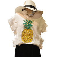 Summer Girl Short Sleeve Casual Tees Pineapple Bead Sequins Korean Fashion T Shirts New Cute Black