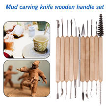 Top Sale Clay Sculpting Sculpt Smoothing Wax Carving Pottery Ceramic Tools Polymer Shapers Modeling Carved Knife Wood Handle Set(China)