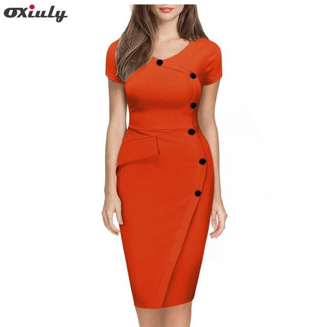 Oxiuly 3XL женское оранжевое платье с коротким рукавом и пуговицами в стиле ампир, повседневная женская одежда, облегающее эластичное платье-ка...