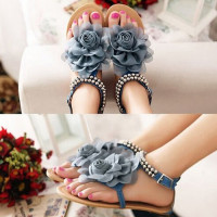 ASDS 2016 Gladiator Sandals For Women Bohemia Beaded Summer Flower Flat Heels Flip Flops Women S