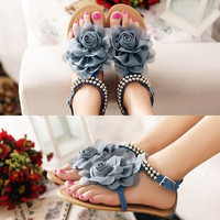 ASDS 2016 Gladiator Sandals For Women Bohemia Beaded Summer Flower Flat Heels Flip Flops Women S