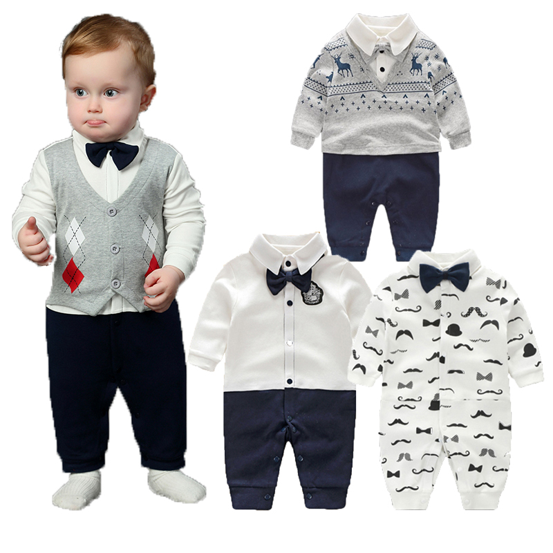 Baby Boy Rompers Pure Cotton Newborn Baby Clothes Gentleman Style Bow Tie Jumpsuit Toddler Boys Clothing 2018 Summer Roupas Bebe top and top summer toddler boy clothes gentleman boy clothing set bow tie romper top straps shorts boys wedding party clothes