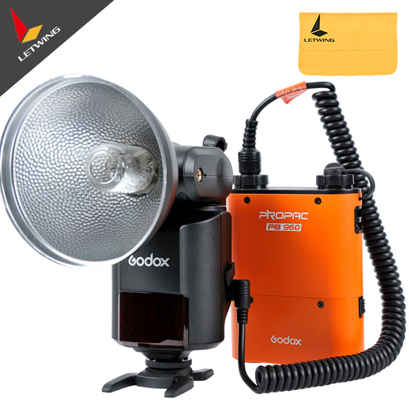 Godox Witstro AD360 AD-360 Powerful Portable Speedlite Pro outdoor Flash Light+PB960 Power Battery Pack Kit Orange Studio flash godox witstro ad360 ad360k ad 360 outdoor camera flash light bare tube flash speedlite pb960 lithium battery power pack black