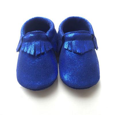 50 pares/lote Azul De Couro Genuíno Mocassins Sapatos de Bebê Recém-nascido Menino Menina Franja Macios Sola de Calçados Crib shoes Primeiros walkers