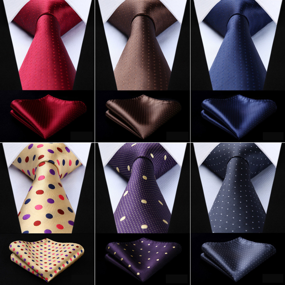 Men Tie Woven Classic Necktie  Plaid Polka Dot Check 3.4