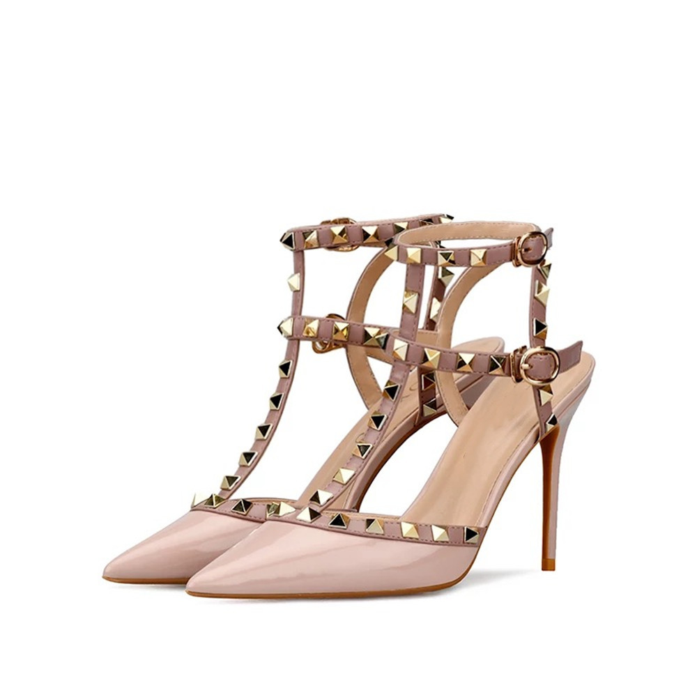 Stkehidba Genuine Leather Women s Rivet Pumps Pointe Toe Ankle Straps Women s Sandals Thin High