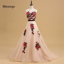 A-line Prom Dresses 2017 New Sweetheart Neck Sweep Train Organz with Appliques Long Formal Gown Evening Dresses