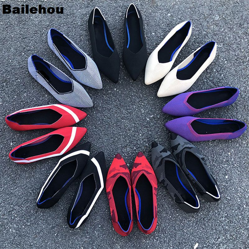 Bailehou Women Flats Shoes 2019 Spring Slip On Flat Loafers Pointed Toe Shallow Ballet Shoes Casual Soft Ballerina Female Mujer