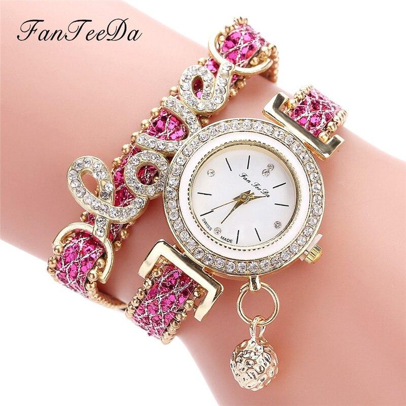Женские часы женские наручные модные красивые кожаные с намоткой аналоговые