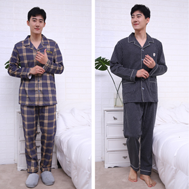 Men Pajamas Homewear Long-Sleeve Male Suit New Pure Spring Cotton Full for 2XL title=