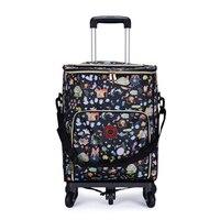 Женская корзина для покупок старший сумка/корзина универсальный сумка на колесах Съемный складной алюминиевая фольга изоляции сумки