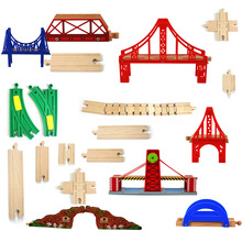 Christmas gifts Wooden Train Track Railway Accessories Wood Track Bridge Red Rainbow Bridge For Rail Way Toys p092 free shipping rail connection wood track essential accessories compatible thomas wooden train track children s toys