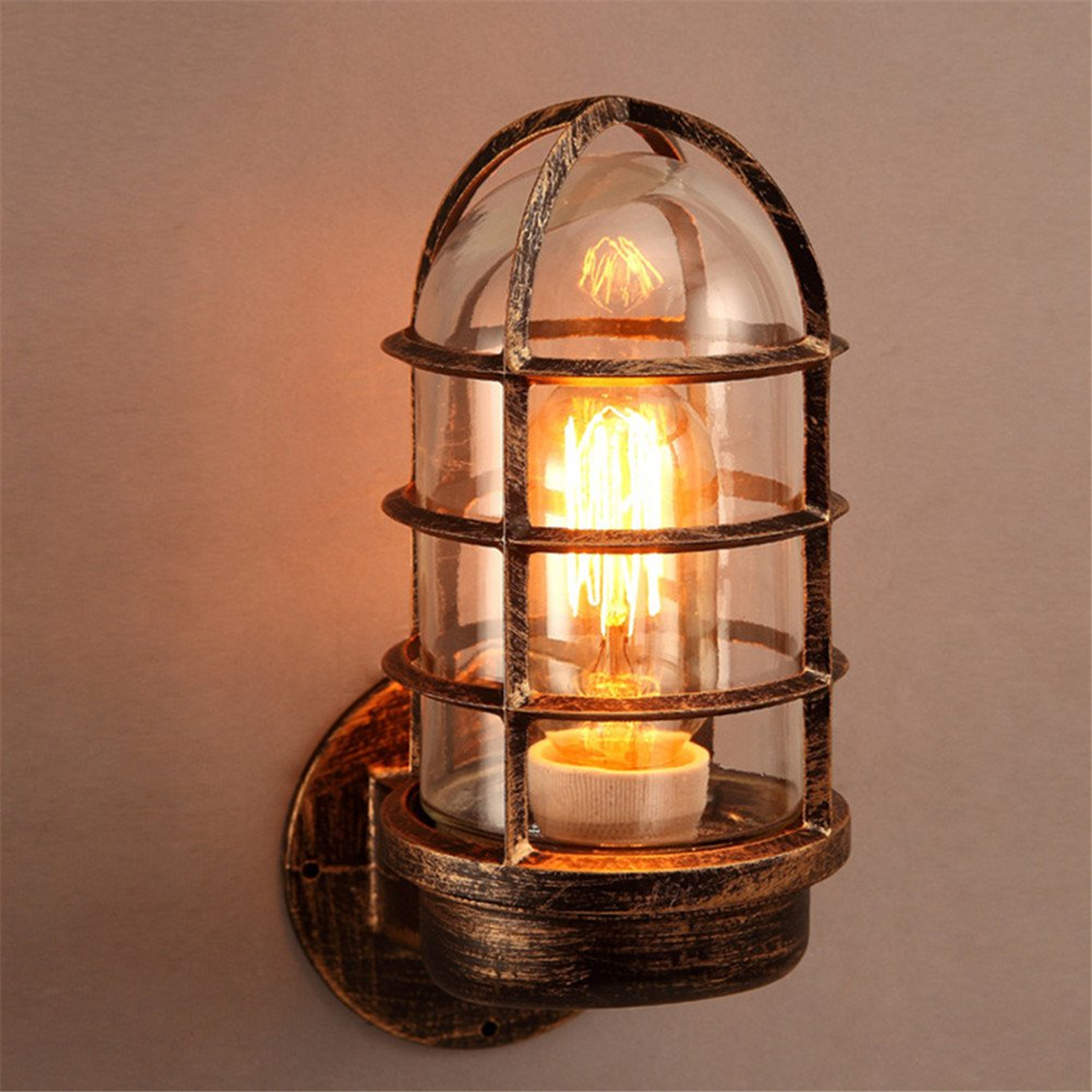 Wall sconces industrial unique wall light cage guard sconce loft light fixture modern indoor lighting wall lamps iron copper in wall lamps from lights