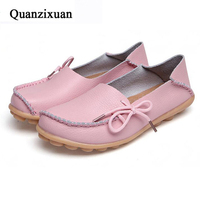 Women Flat Shoes Lace Up Plus Size Casual Women Shoes Moccasins Leather Shoes