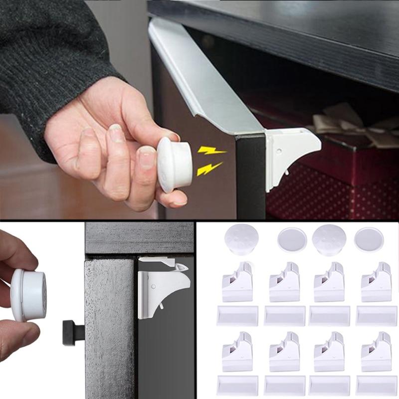 Children Lock Baby Safety Magnetic Lock Child Protection Kids Drawer Locker Security Cupboard Cabinet Locks 4/8pcs Lock+1/2key